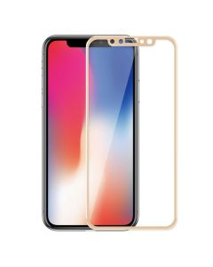 Silk-screen 3D Arc Tempered Glass Full Screen Protector with Gold Frame (iPhone X)