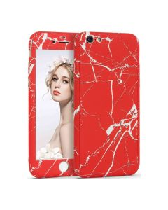 360 Full Cover Marble Case & Tempered Glass - No.12 Red (iPhone 6 Plus / 6s Plus)