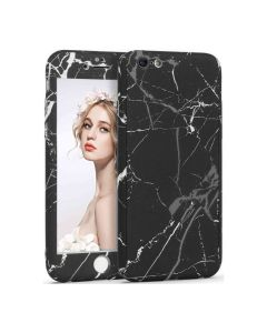 360 Full Cover Marble Case & Tempered Glass - No.13 Black (iPhone 6 Plus / 6s Plus)
