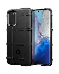 Anti Shock Rugged Armor Square Grid Tough Case Black (Samsung Galaxy S20 Plus)