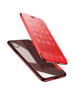 Baseus Touchable Case TPU Flip Cover with Tempered Glass Red (iPhone X / Xs)