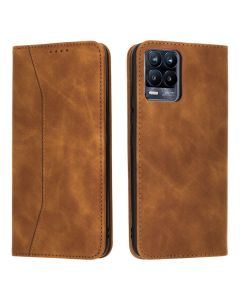 Bodycell PU Leather Book Case Θήκη Πορτοφόλι με Stand - Brown (Realme 8 / 8 Pro)