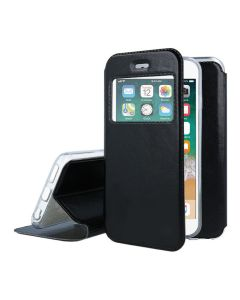 Forcell S View Window Preview Flip Case Stand - Black (iPhone 7 Plus / 8 Plus)