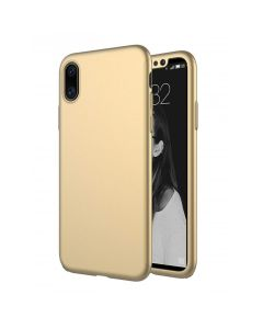 360 Full Cover Case & Tempered Glass - Gold (iPhone X / Xs)