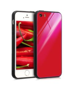 KWmobile Glass TPU Case (45429.97) Red Black (iPhone 5 / 5s / SE)
