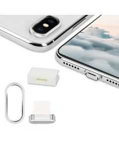 KWmobile Set 3in1 Anti Dust Plug with Cable Holder / Camera Ring - Silver (iPhone X)