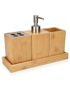 Navaris Bamboo Bathroom Accessories Set (50084.04) Σετ Μπάνιου 4 τεμαχίων από Ξύλο Bamboo