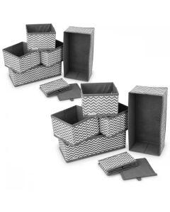Navaris Foldable Fabric Storage Boxes Set of 12 (49052.10) Κουτιά Οργάνωσης - Zigzag