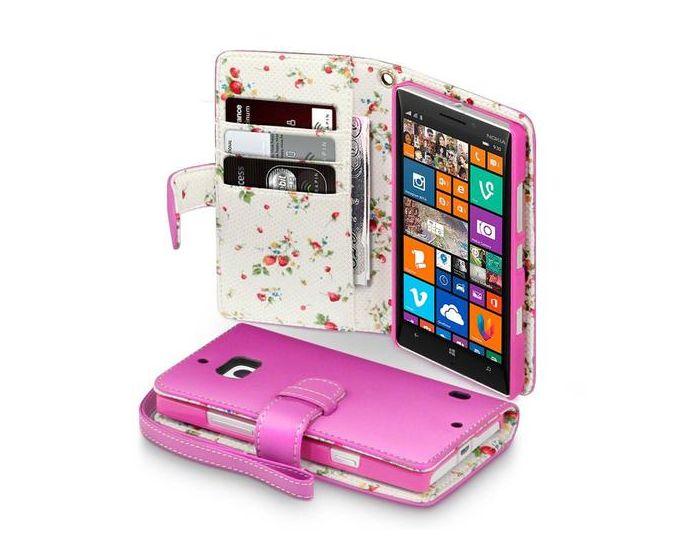 Terrapin Θήκη Πορτοφόλι Wallet Case (117-001-231) Ροζ - Flowers (Nokia Lumia 930)