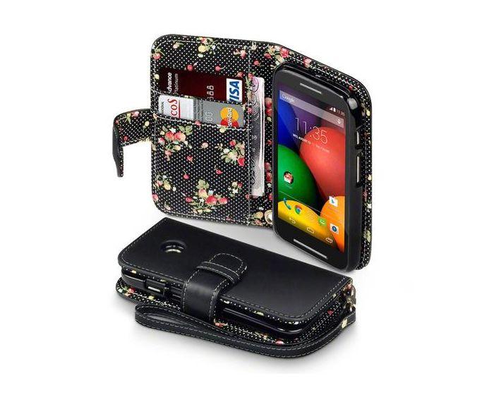 Terrapin Θήκη Πορτοφόλι Wallet Case (117-003-013) Black - Flowers (Motorola Moto E)