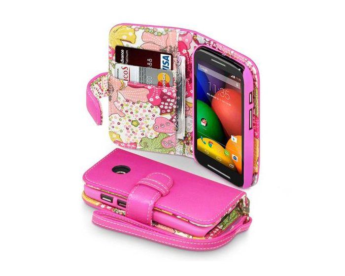Terrapin Θήκη Πορτοφόλι Wallet Case (117-003-016) Pink - Flowers (Motorola Moto E)