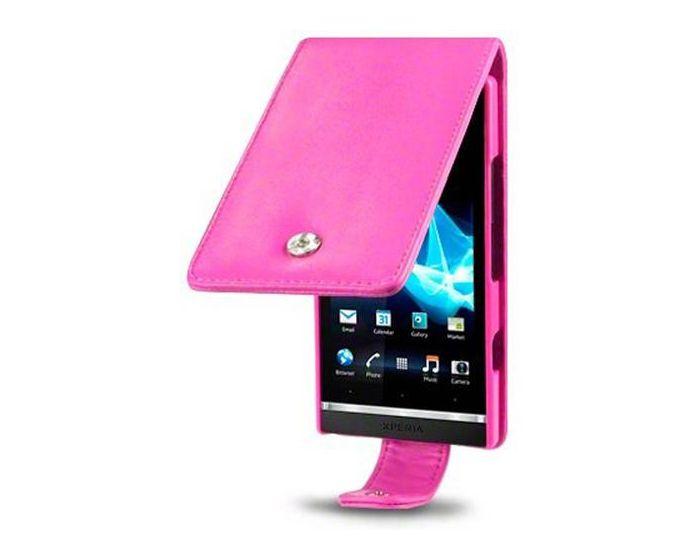 Covert Δερμάτινη Θήκη Flip Case (117-005-043) Ροζ (Sony Xperia S)