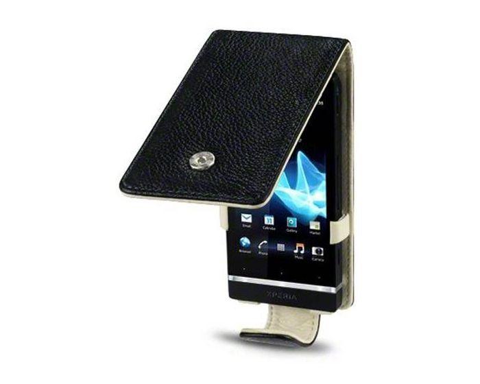 Covert Δερμάτινη Θήκη Flip Case (117-005-066) Μαύρο (Sony Xperia U)