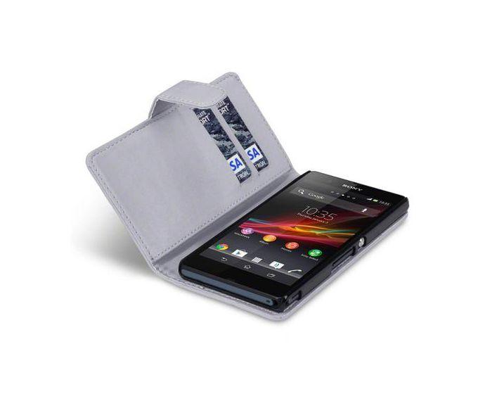 Qubits Θήκη Πορτοφόλι Flip Wallet Case (117-005-216) Γκρι (Sony Xperia Z)