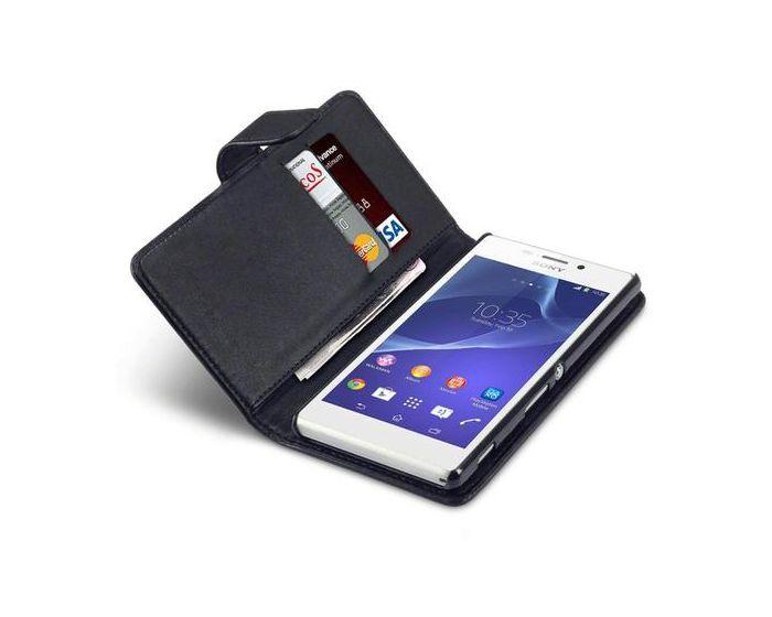 Qubits Θήκη Πορτοφόλι Flip Wallet Case (117-005-289) Μαύρο (Sony Xperia M2)