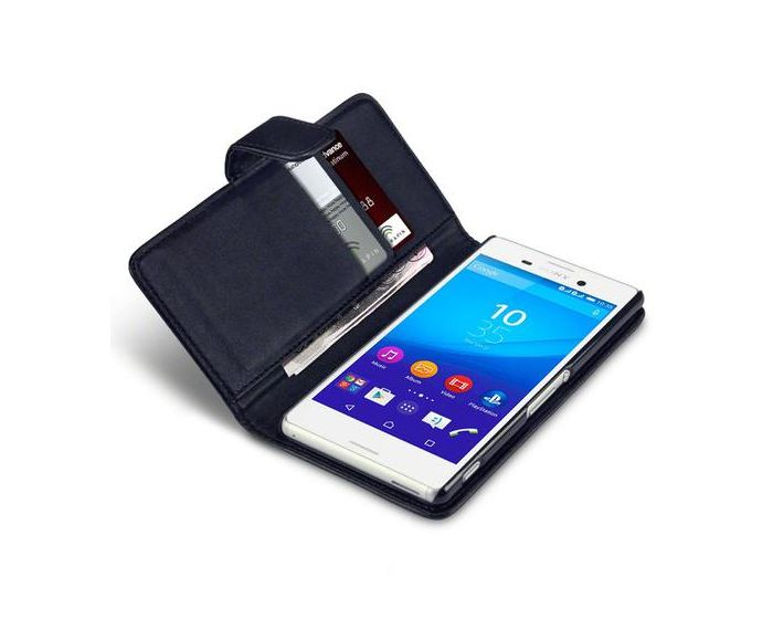 Qubits Θήκη Πορτοφόλι Wallet Case (117-005-358) Black (Sony Xperia M4 Aqua)