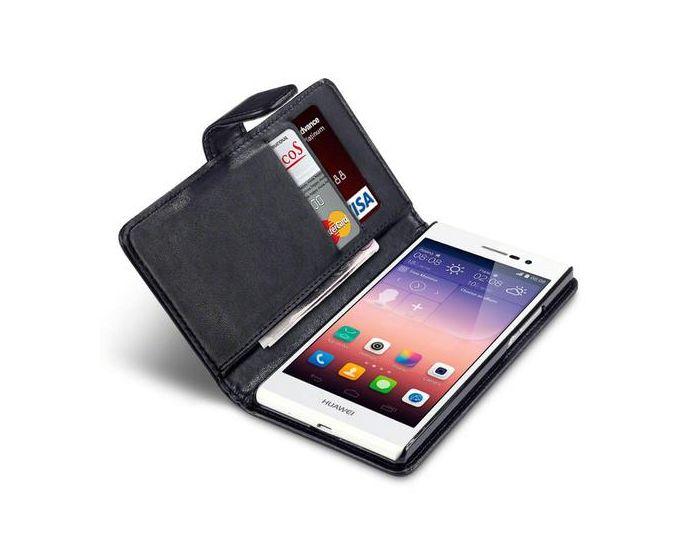 Qubits Θήκη Πορτοφόλι Wallet Case (117-083-012) Μαύρη (Huawei Ascend P7)