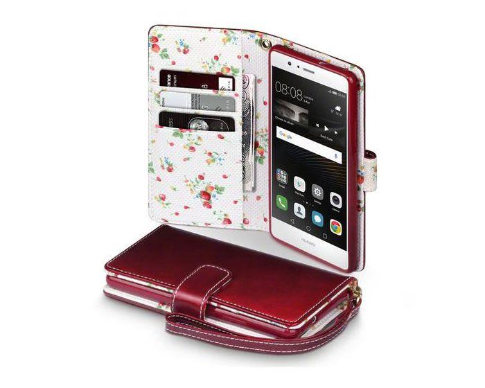 Terrapin Θήκη Πορτοφόλι Wallet Case (117-083-050) Red - Flowers (Huawei P9 Lite)
