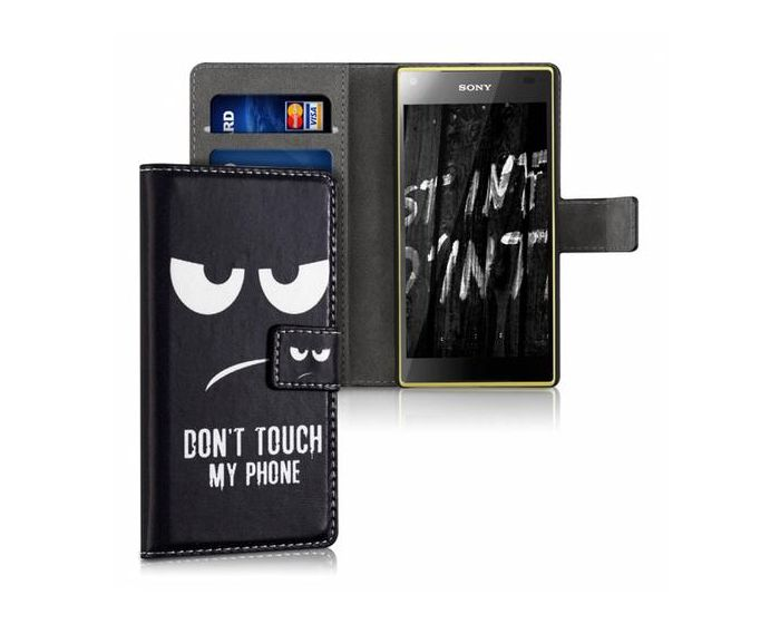 KWmobile Wallet Case Θήκη Πορτοφόλι με δυνατότητα Stand (35159.01) Don't touch my phone (Sony Xperia Z5 Compact)