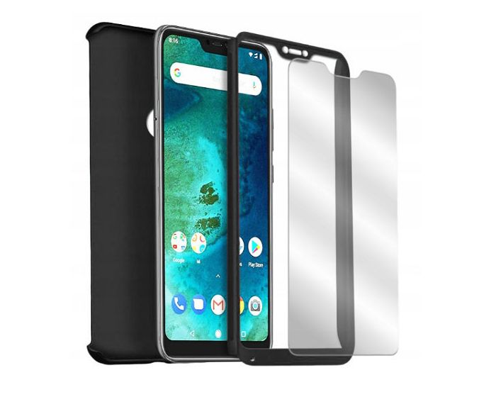 360 Full Cover Case & Tempered Glass - Black (Huawei Y5 2017 / Y6 2017)