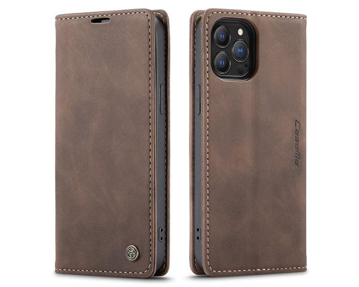 CaseMe PU Leather Wallet Book Case Θήκη Πορτοφόλι με Stand - Dark Brown (iPhone 13 Pro)