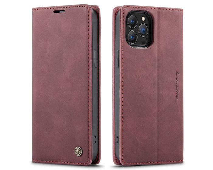 CaseMe PU Leather Wallet Book Case Θήκη Πορτοφόλι με Stand - Dark Red (iPhone 13 Pro)