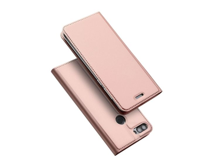 DUX DUCIS SkinPro Wallet Case Stand Θήκη Πορτοφόλι - Rose Gold (Huawei P Smart)