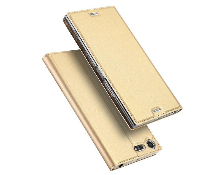 DUX DUCIS SkinPro Wallet Case Θήκη Πορτοφόλι με Δυνατότητα Stand - Gold (Sony Xperia XZ Premium)