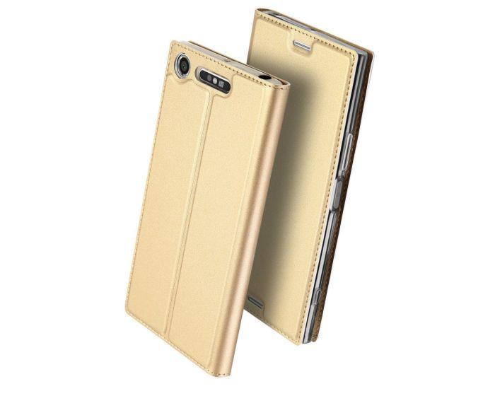 DUX DUCIS SkinPro Wallet Case Θήκη Πορτοφόλι με Δυνατότητα Stand - Gold (Sony Xperia XZ1 Compact)