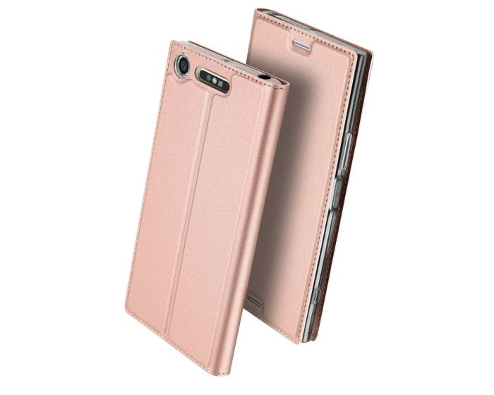 DUX DUCIS SkinPro Wallet Case Θήκη Πορτοφόλι με Δυνατότητα Stand - Rose Gold (Sony Xperia XZ1 Compact)