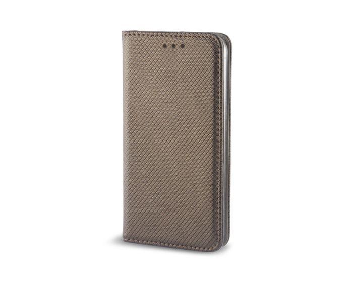 Smart Book Case με Δυνατότητα Stand Θήκη Πορτοφόλι Dark Gold (Nokia 6)
