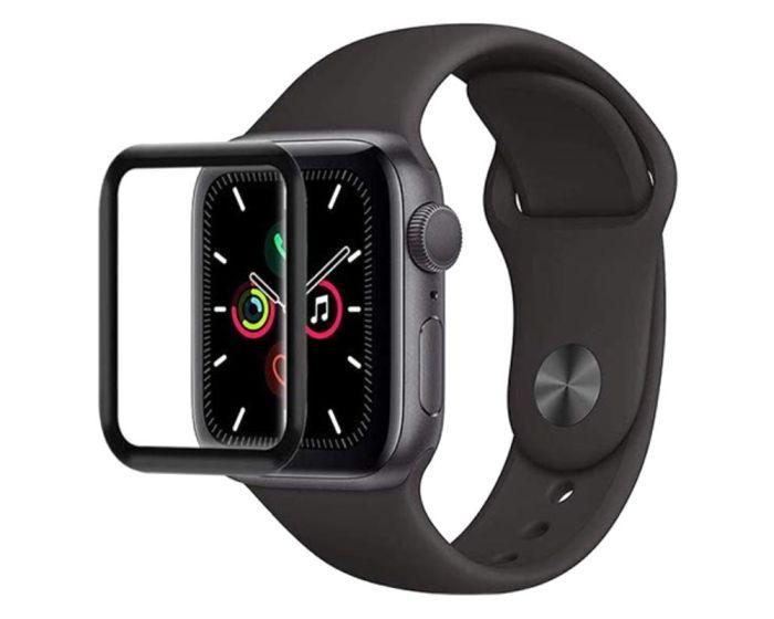 Bestsuit Flexible Hybrid Full Face Αντιχαρακτικό Γυαλί 5H Tempered Glass Μαύρο (Apple Watch 44mm Series 5/6/SE)