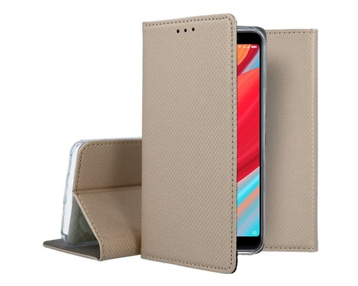 Forcell Smart Book Case με Δυνατότητα Stand Θήκη Πορτοφόλι Gold (Xiaomi Redmi S2)