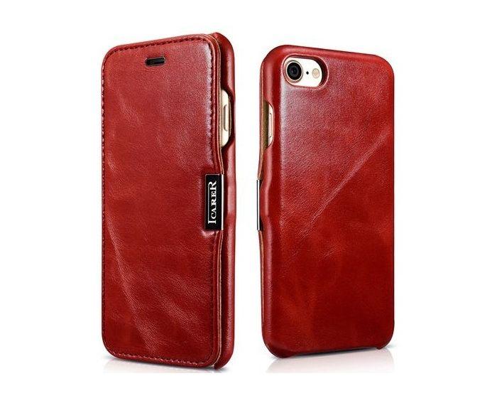 iCarer Vintage Series Side-Open Δερμάτινη Θήκη (136552) Red (iPhone 7 / 8 / SE 2020)