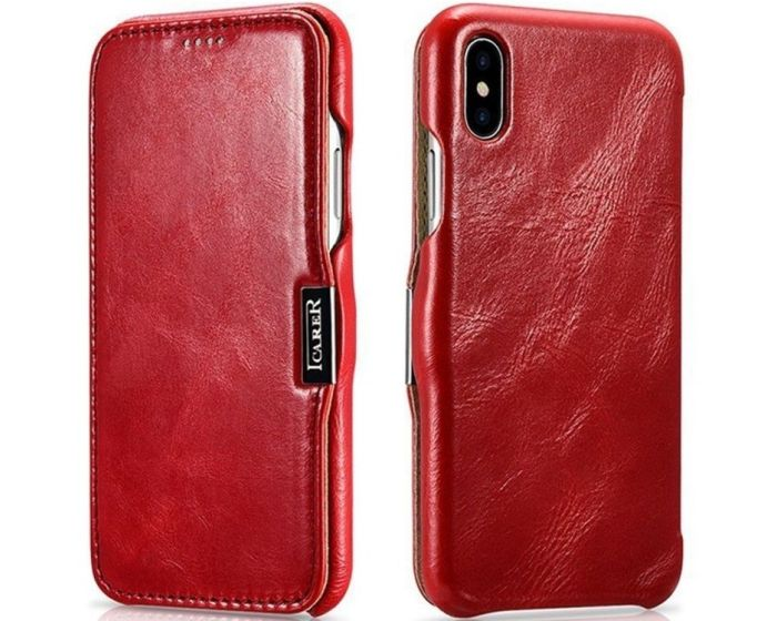 iCarer Vintage Series Side-Open Δερμάτινη Θήκη (99012427) Red (iPhone Xs Max)