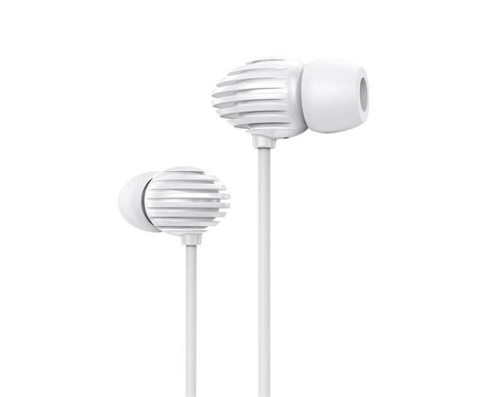 Joyroom JR-EL112 In-Ear Earphones Ακουστικά 3.5mm Mini Jack με Μικρόφωνο - White