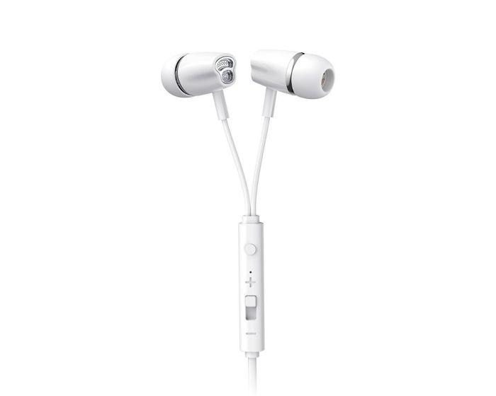 Joyroom JR-EL114 In-Ear Earphones Ακουστικά 3.5mm Mini Jack με Μικρόφωνο - White