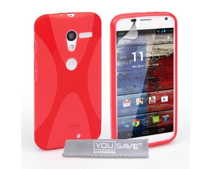 YouSave Silicone Θήκη Σιλικόνης (MO-ROLA-Z160) Κόκκινη + Screen Protector (Motorola Moto X)