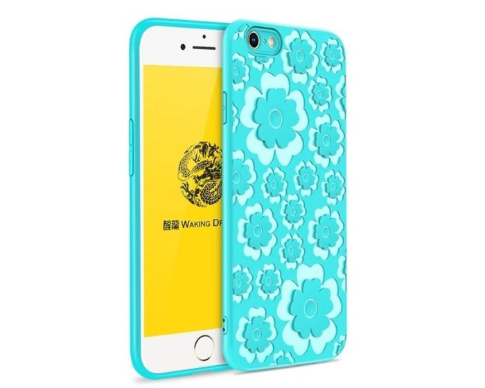 MSVII Θήκη Σιλικόνης Slim Fit Silicone Case Flower Blue (iPhone 7 / 8 / SE 2020)