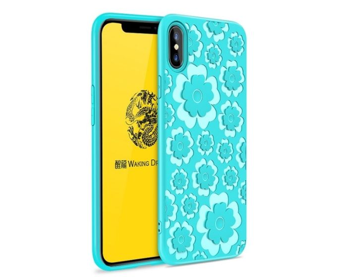 MSVII Θήκη Σιλικόνης Slim Fit Silicone Case Flower Blue (iPhone X / XS)