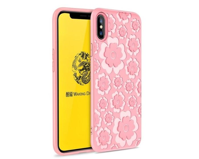 MSVII Θήκη Σιλικόνης Slim Fit Silicone Case Flower Pink (iPhone X / XS)