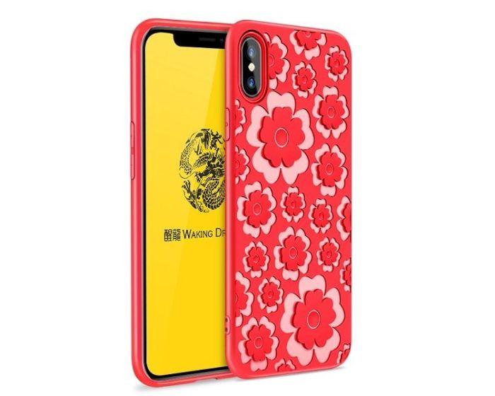 MSVII Θήκη Σιλικόνης Slim Fit Silicone Case Flower Red (iPhone X / XS)