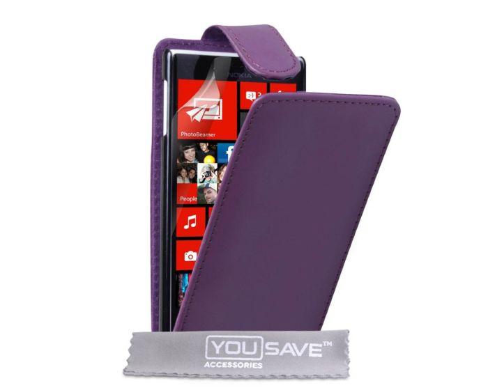 YouSave Vertical Flip Case Θήκη (NO-KA01-Z239) Μωβ + Screen Protector (Nokia Lumia 720)