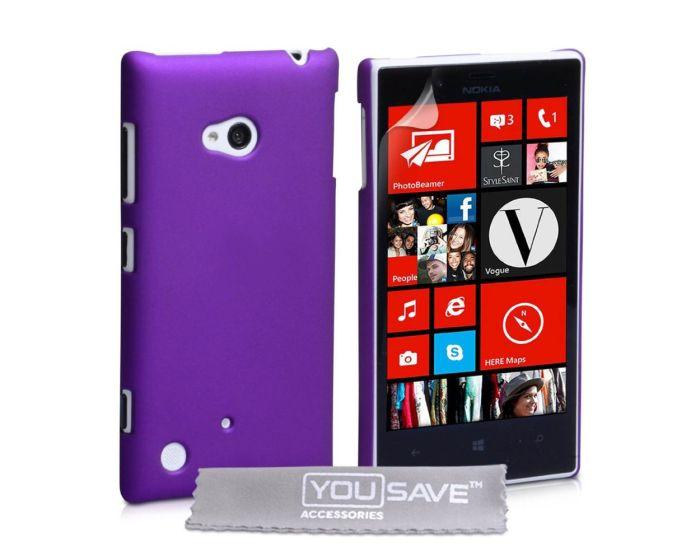 YouSave Hard Hybrid Cover Πλαστική Θήκη (NO-KA01-Z252) Purple + Screen Protector (Nokia Lumia 720)