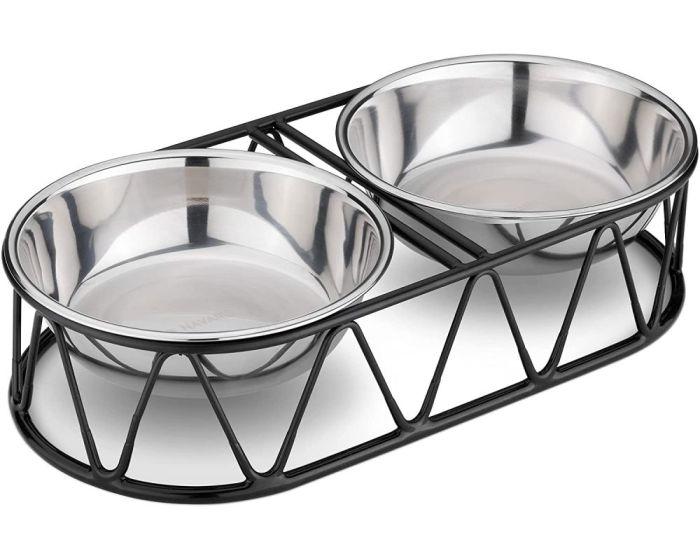 Navaris Steel Pet Bowl Set (54102.01) Σετ Μπολ Φαγητού και Νερού με Μεταλλική Βάση