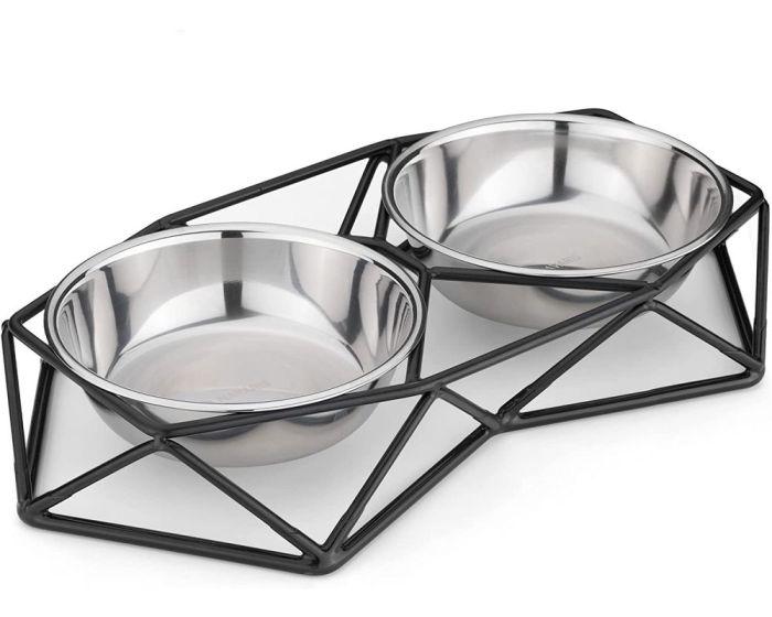 Navaris Steel Pet Bowl Set (54103.01) Σετ Μπολ Φαγητού και Νερού με Μεταλλική Βάση