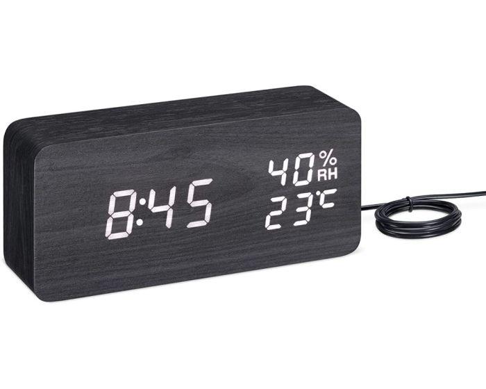Navaris Digital Alarm Clock Wood Look (54042.01.02) Επιτραπέζιο Ξύλινο Ρολόι - Μαύρο