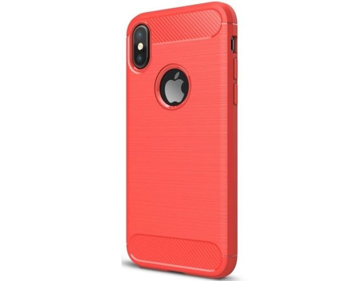 TPU Carbon Rugged Armor Case (169037) Red (iPhone X / Xs)