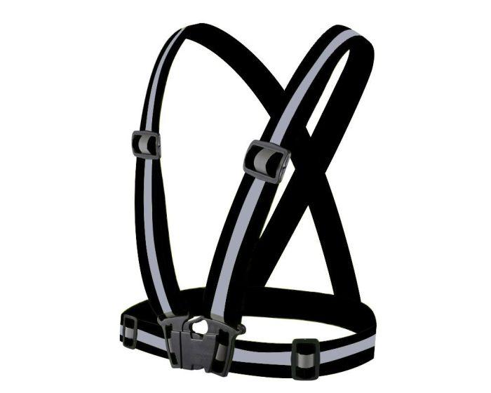 Unisex Adjustable Reflective Safety Harness Vest Φωσφοριζέ Γιλέκο - Black