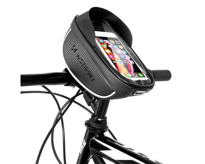 Wozinsky Front Frame Handlebar Bag 1L (WBB16BK) Τσαντάκι Ποδηλάτου με Θέση για Smartphone - Black